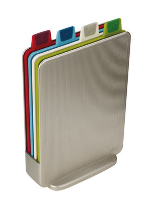 Kitchenware - Kitchen Equipment - Index Mini Chopping board - Set of 4 cutting boards with case - W 15,5 cm by Joseph Joseph - Argent - Plastic
