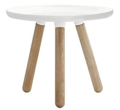Möbel - Couchtische - Tablo Small Couchtisch Ø 50 cm - Normann Copenhagen - Weiß - Frêne naturel, Verbund-Werkstoffe