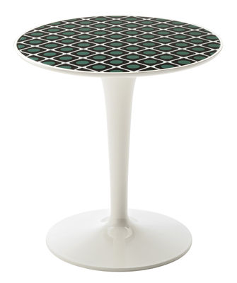 Furniture - Coffee Tables - Tip Top La Double J End table - / PMMA top by Kartell - Olive / White base - PMMA