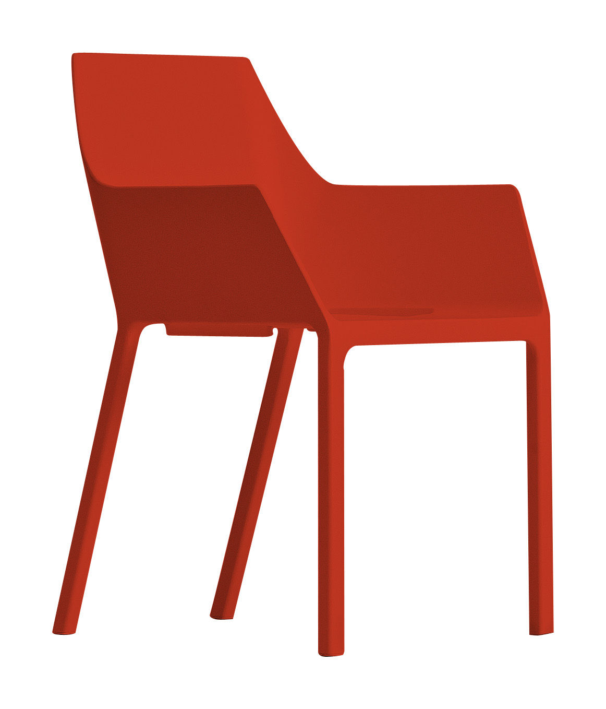 Mobilier - Chaises, fauteuils de salle à manger - Fauteuil empilable Mem / Plastique - Kristalia - Korallrot - Fibre de verre, Polypropylène