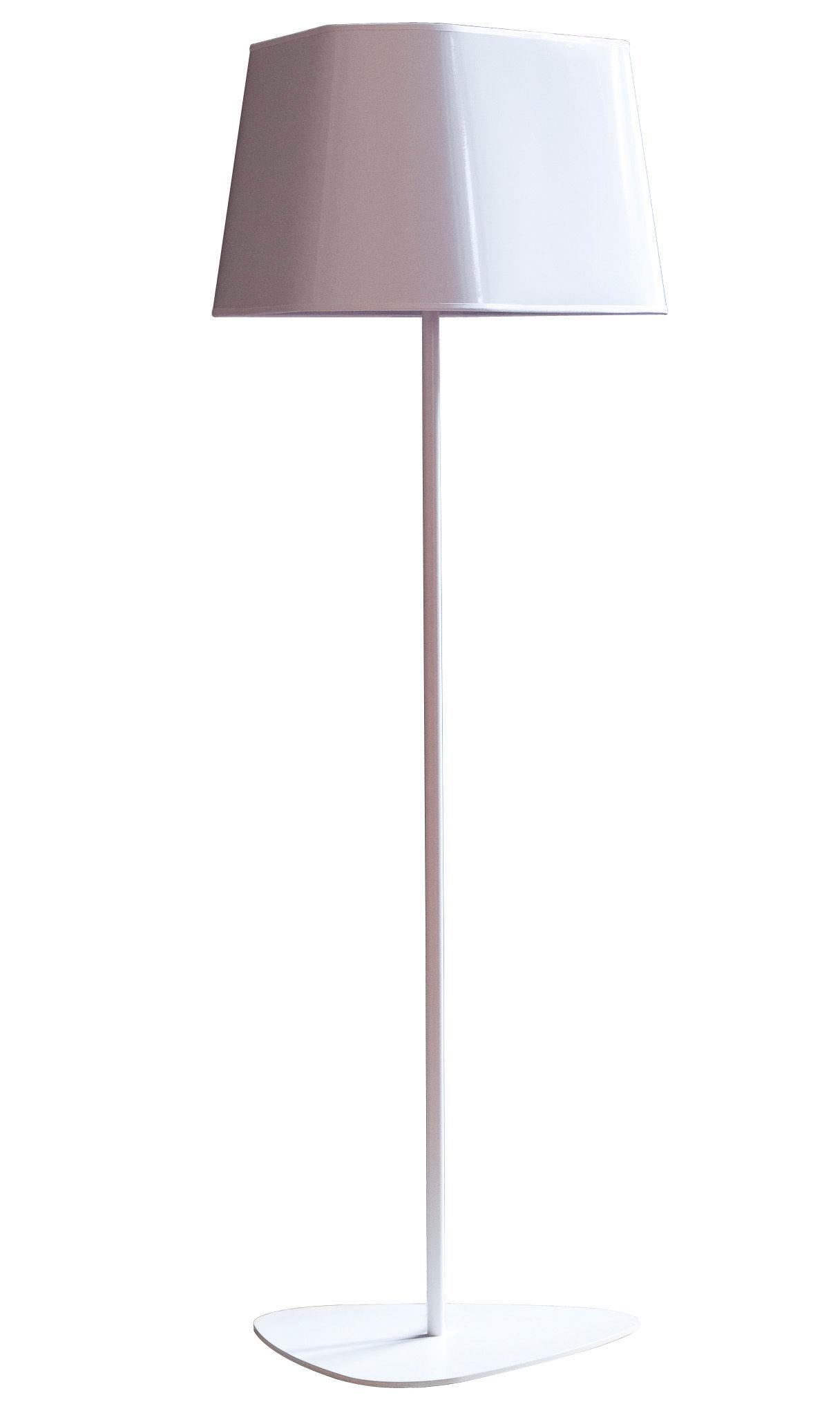 Illuminazione - Lampade da terra - Lampada a stelo Grand Nuage di Designheure - A 122 cm - Bianco tessuto percalina - Acciaio laccato, Cotone percalle