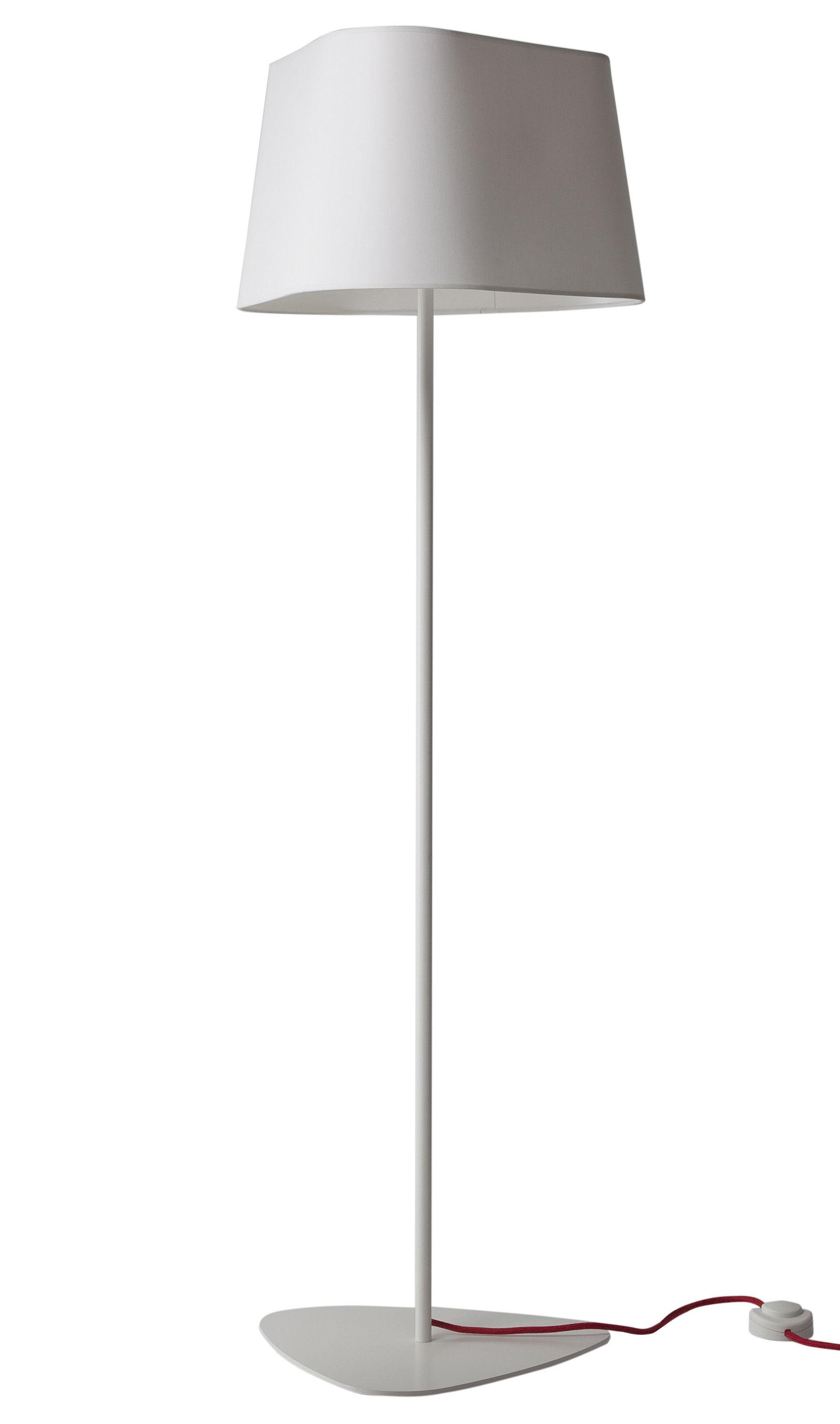 Illuminazione - Lampade da terra - Lampada a stelo Grand Nuage XL di Designheure - A 162 cm - Bianco tessuto percalina - Acciaio laccato, Cotone percalle