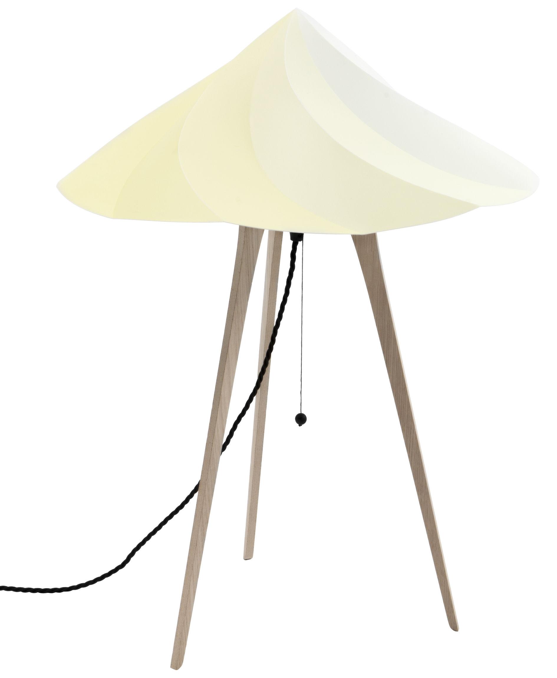 Illuminazione - Lampade da tavolo - Lampada da posa Chantilly Large - / H 65 cm di Moustache - Giallo - Multistrato di rovere, Polipropilene riciclato
