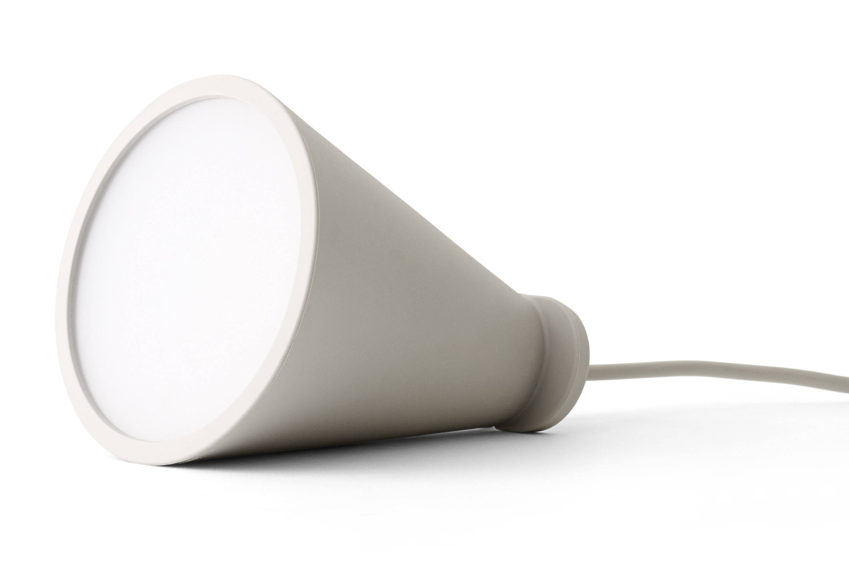 Leuchten - Tischleuchten - Bollard Lampe / Handlampe zum Hinlegen oder Aufhängen - H 13 cm - Menu - Hellgrau - Plastik, Silikon