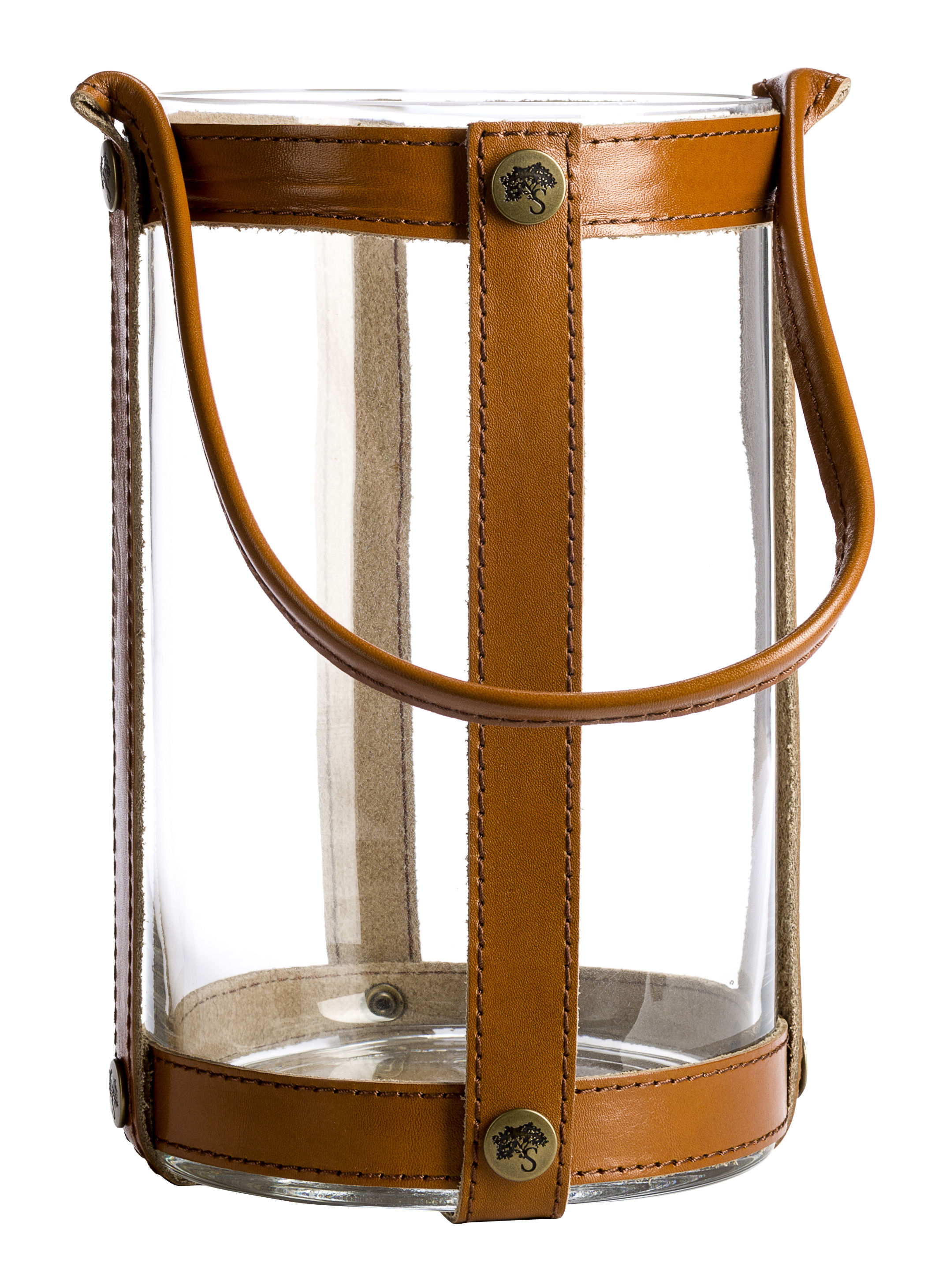Decoration - Candles & Candle Holders - Marstrand Lantern - Ø15 x H25 cm - Leather by Skargaarden - Brown leather - Glass, Leather