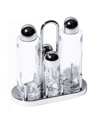 Egg Cups - Salt & Pepper Mills - Oil bottle by Alessi - Mirror polished - Glass, Steel
