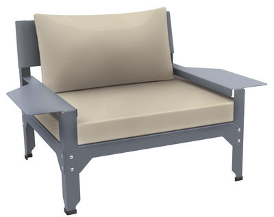 Furniture - Armchairs - Lounge Hegoa Padded armchair - Indoor / Outdoor use by Matière Grise - Blue-grey / Beige - Epoxy painted steel, Fabric, Foam