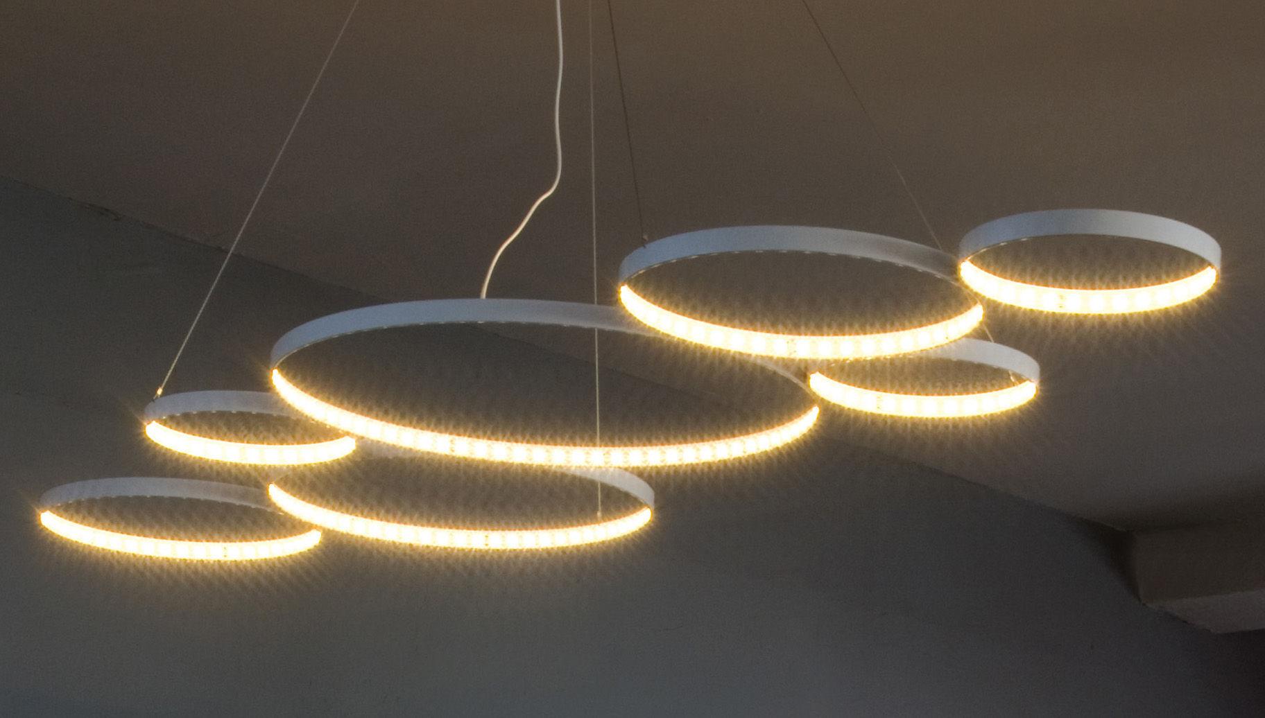 Leuchten - Pendelleuchten - Ultra8 Pendelleuchte / LED - 180 x 50 cm - Le Deun - Weiß - Stahl