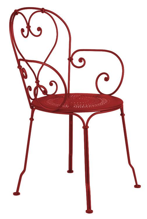 Arredamento - Poltrone design  - Poltrona impilabile 1900 di Fermob - Peperoncino - Acciaio