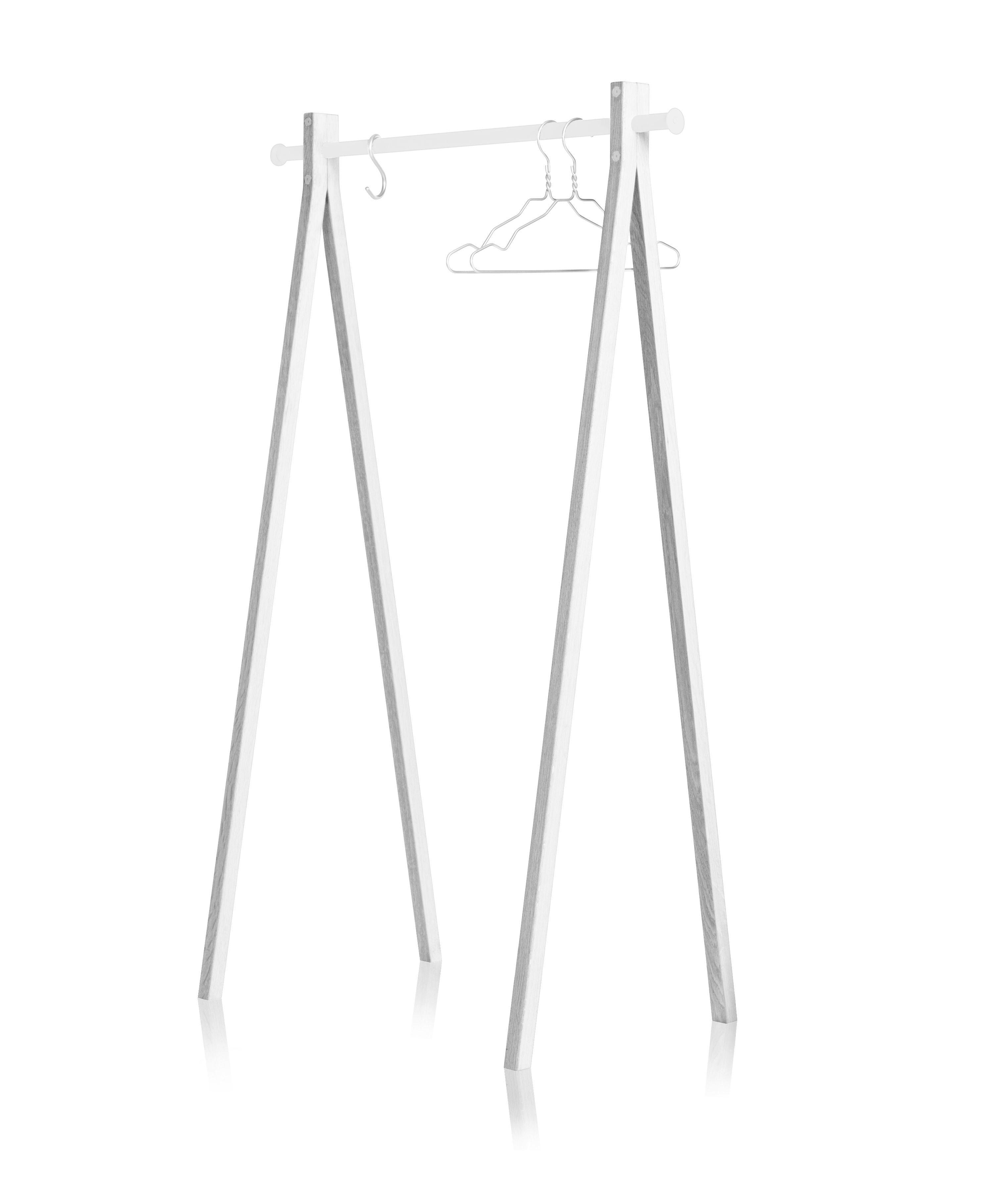 Mobilier - Portemanteaux, patères & portants - Portant Dress-up / L 90 cm - Nomess - Blanc / Barre blanche - Aluminium laqué, Frêne peint