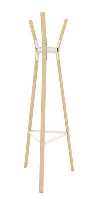 Möbel - Garderoben und Kleiderhaken - Steelwood Portemanteau sur pied - Magis - Weiß / Buche - Buchenfurnier, gefirnister Stahl