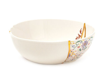 Tableware - Bowls - Kintsugi n°1 Salad bowl - / Ø 19 x H 7 cm - Porcelain & fine gold by Seletti - no. 1/ White, gold & multicoloured - China, Fine gold