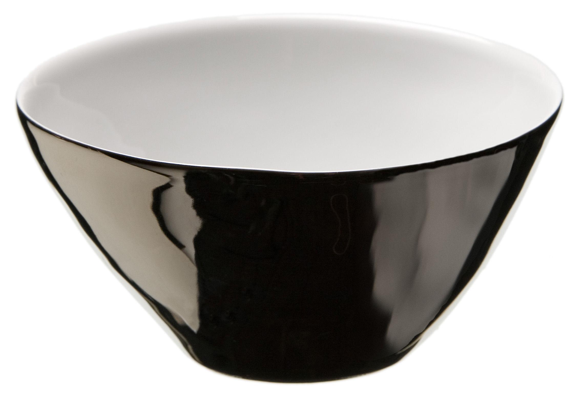 Tischkultur - Salatschüsseln und Schalen - Affamés Schale 2er Set - Tsé-Tsé - Innen weiß - außen platinfarben emailliert - Porzellan