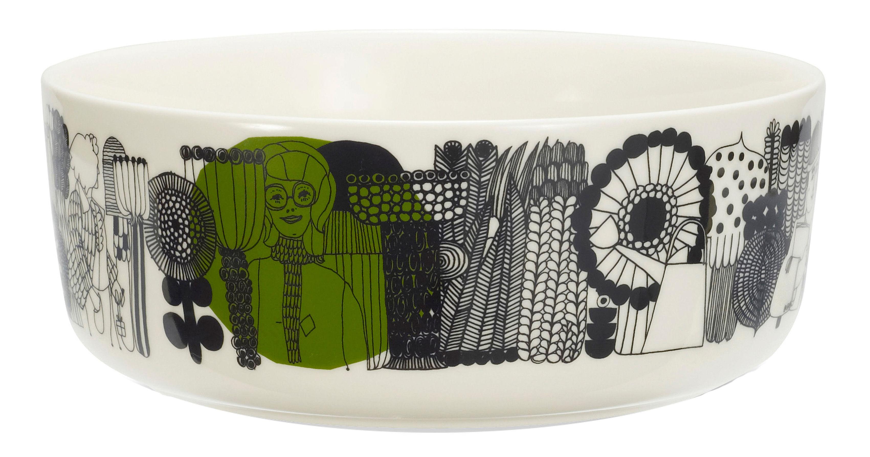 Tischkultur - Salatschüsseln und Schalen - Siirtolapuutarha Schale Ø 20 cm - Marimekko - Ø 20 cm - Siirtolapuutarha - Weiß & blau - emailliertes Porzellan