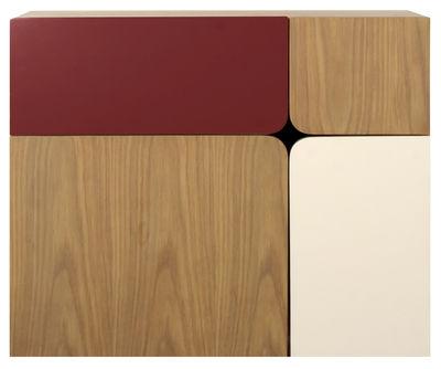 Secrétaire mural 1/4 - ENOstudio blanc,bordeaux,bois naturel en bois