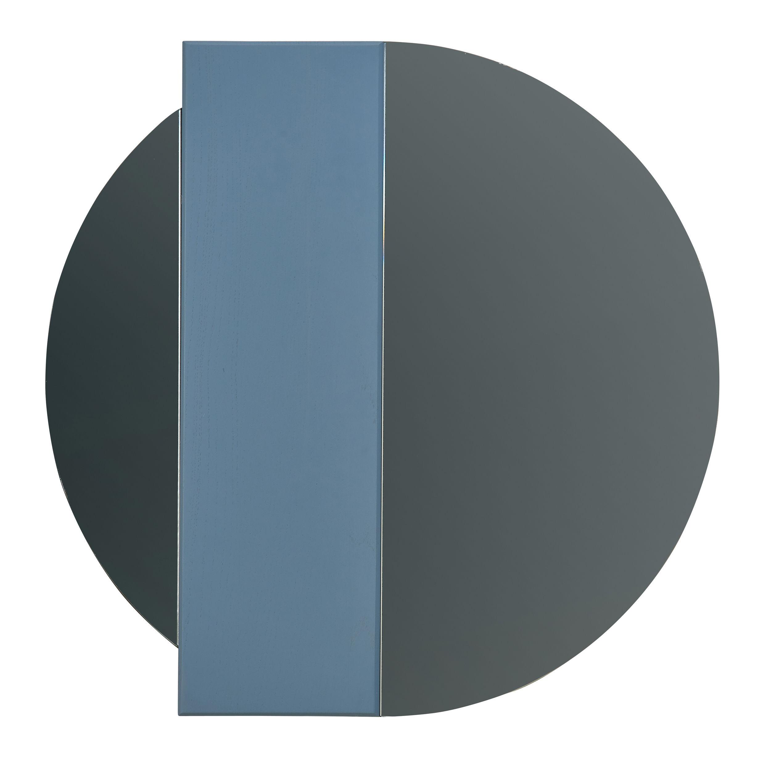 Interni - Specchi - Specchio murale Charlotte - / Striscia in legno calamitata -  Ø 60 cm di Hartô - Specchio grigio / Striscia blu - Rovere tinto, Vetro colorato