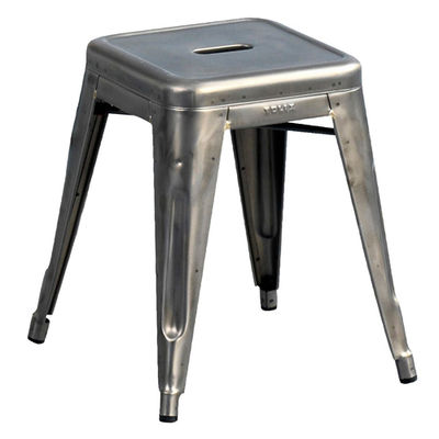 Furniture - Stools - H Stool - Varnished raw steel - H 45 cm by Tolix - Raw glossy varnished - Gloss varnish raw steel