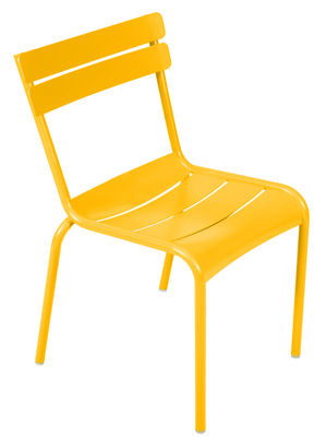 Furniture - Chairs - Luxembourg Stacking chair - Metal by Fermob - Honey - Lacquered aluminium