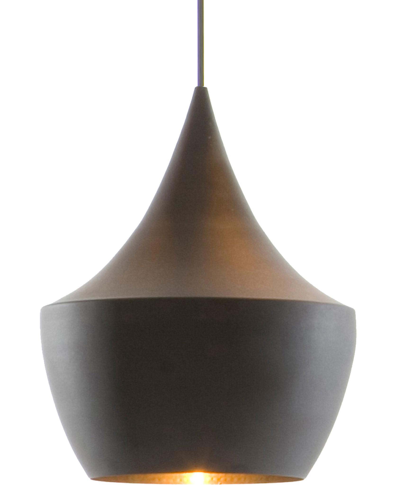 Luminaire - Suspensions - Suspension Beat Fat / Ø 24 cm x H 30 cm - Tom Dixon - Noir / intérieur doré - Laiton