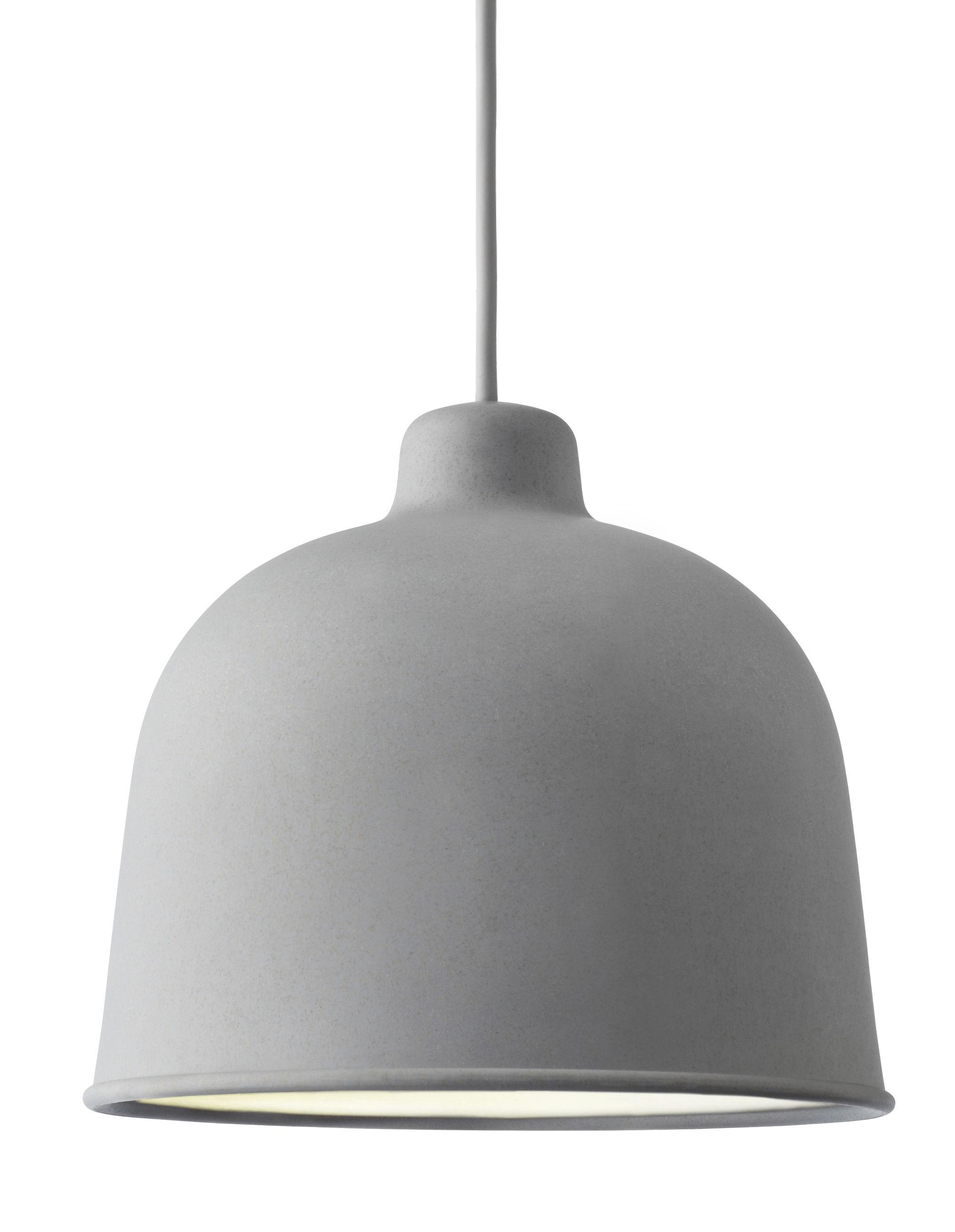Luminaire - Suspensions - Suspension Grain / Ø 21 cm - Muuto - Gris - Matériau composite