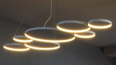 Luminaire - Suspensions - Suspension Ultra8 / LED - 180 x 50 cm - Le Deun - Blanc - Acier
