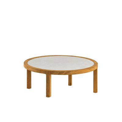 Table basse Grand Life / Ø 77 x H 25 cm - Pierre céramique & teck naturel - Ethimo blanc/bois naturel en bois/pierre