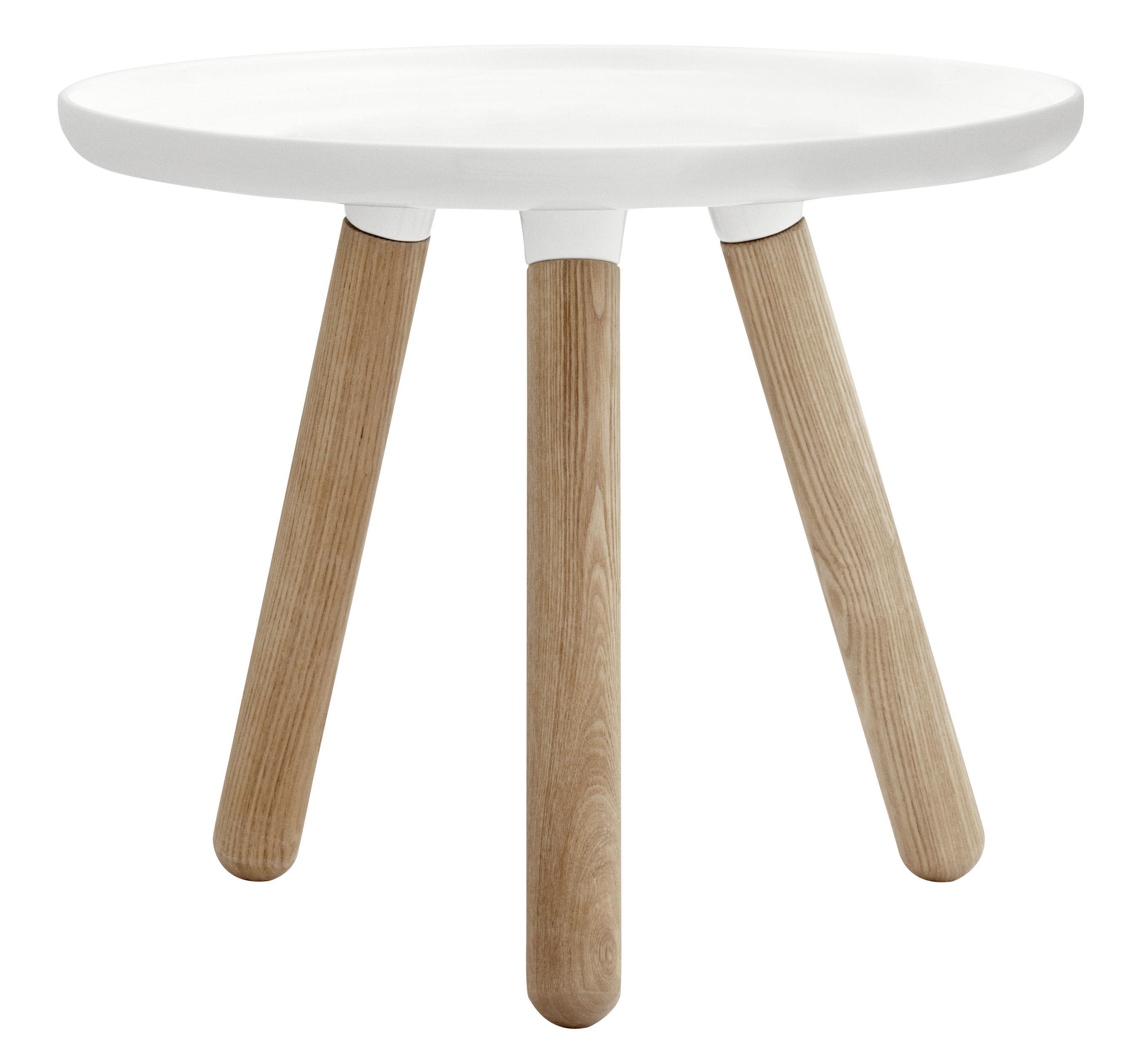 Mobilier - Tables basses - Table basse Tablo Small / Ø 50 cm - Normann Copenhagen - Blanc - Frêne naturel, Matériau composite