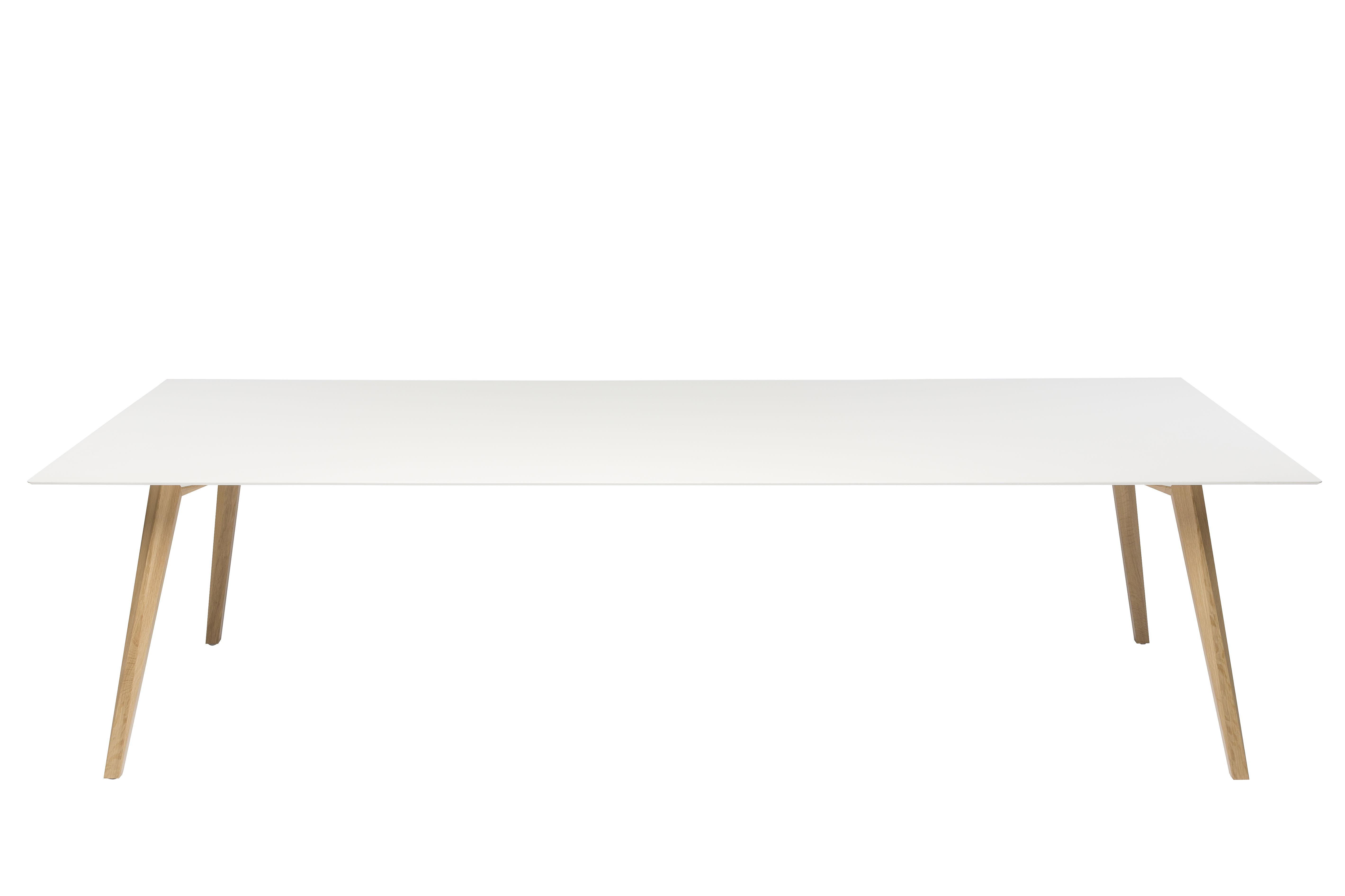 Mobilier - Bureaux - Table Bevel / Bureau - 200 x 100 cm - Pieds bois - ICF - Blanc / Pieds bois - Aluminium, Chêne, HPL
