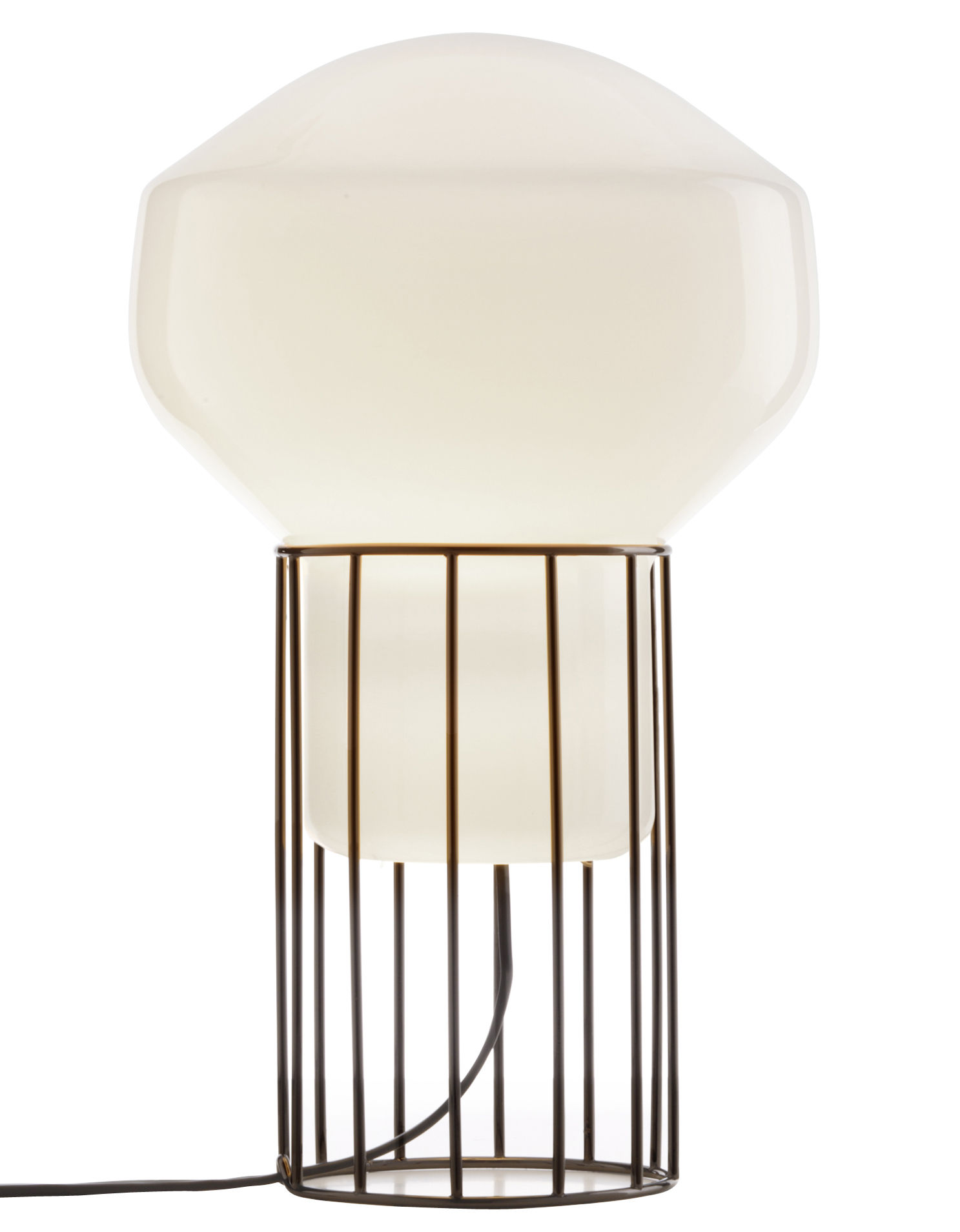 Lighting - Table Lamps - Aérostat Piccola Table lamp by Fabbian - Black structure / White diffuser - Nickel-plate metal, Opalin mouth blown glass