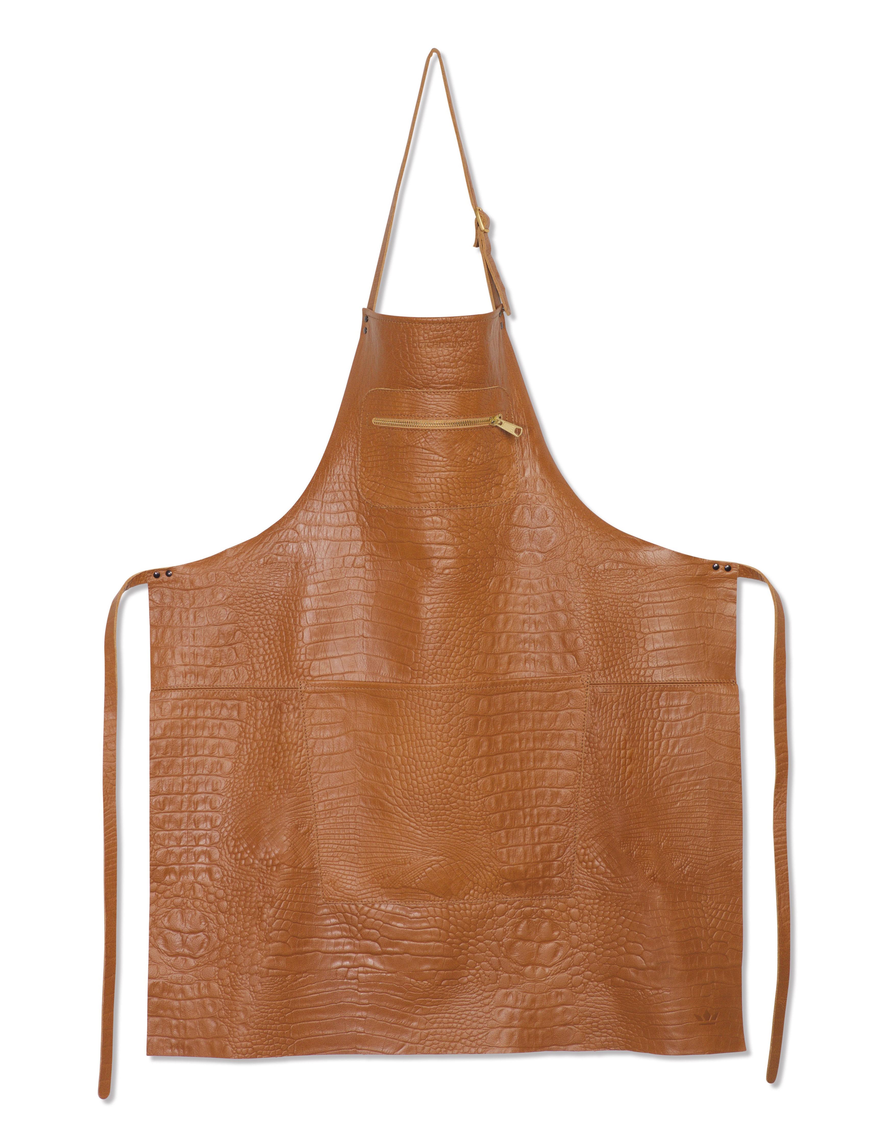 Cuisine - Tabliers et torchons   - Tablier cuir effet croco / Poche zippée - Dutchdeluxes - Naturel - Cuir pleine fleur