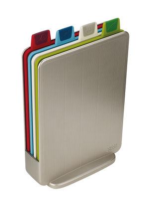 Cucina - Utensili da cucina - Tagliere Index Mini - / Set da 4 + supporto - 15 x 21 cm di Joseph Joseph - Argento - Plastica