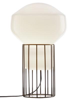 Leuchten - Tischleuchten - Aérostat Piccola Tischleuchte / H 37 cm - Fabbian - Gestell schwarz / Diffusor weiß - Mundgeblasenes Opalin-Glas, vernickeltes Metall