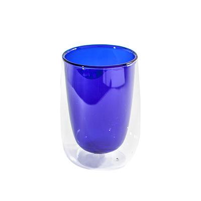 Arts de la table - Tasses et mugs - Verre à thé Doppler / Double paroi isolante - Fundamental Berlin - Bleu - Verre soufflé à la main