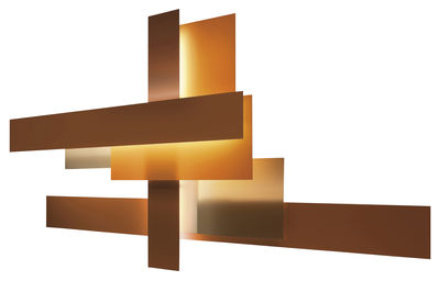 Lighting - Wall Lights - Fields Wall light - Set of 3 by Foscarini - Orange / red - Methacrylate