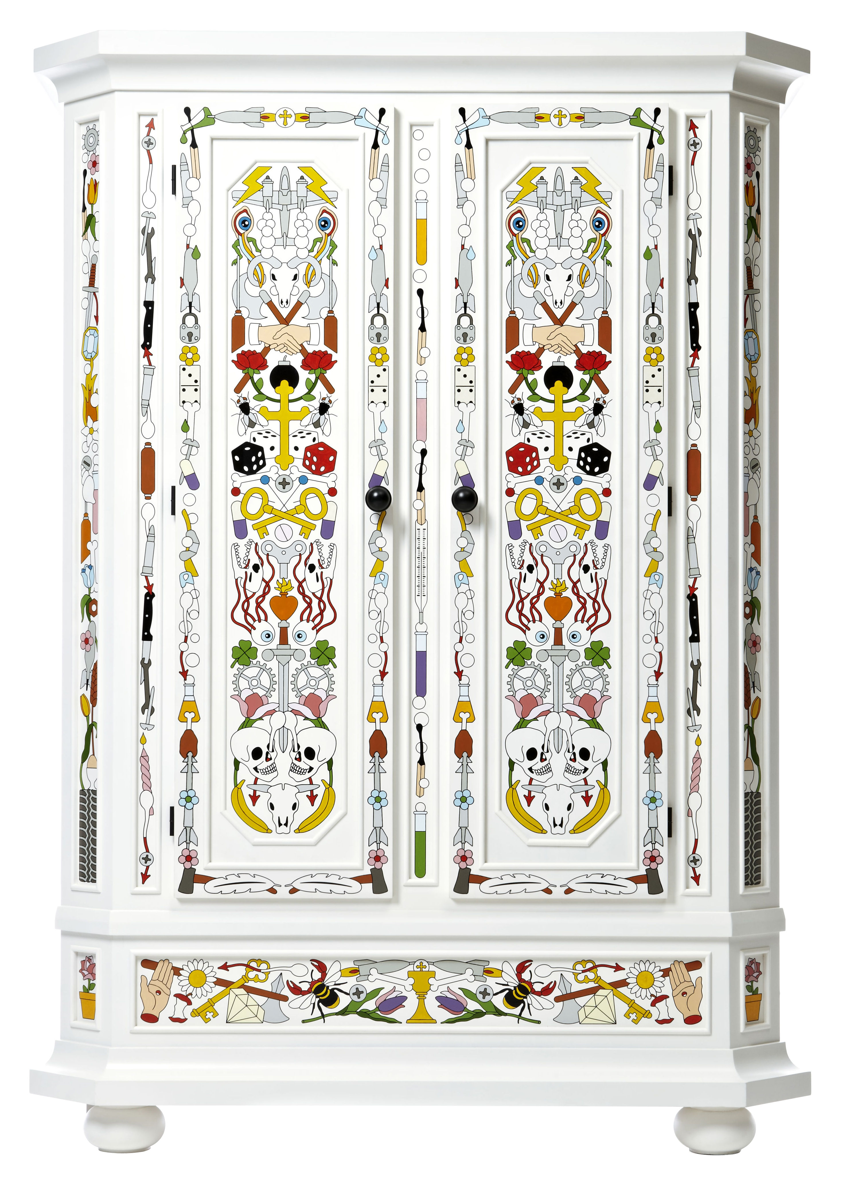 Furniture - Dressers & Storage Units - Altdeutsche Wardrobe - Hand decorated by Moooi - White / Multicolor - Solid pine