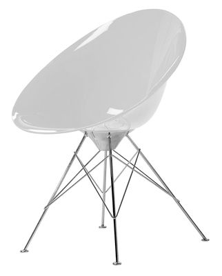 Furniture - Chairs - Ero/S/ Armchair - Polycarbonate by Kartell - transparent white - Chromed steel, Polycarbonate