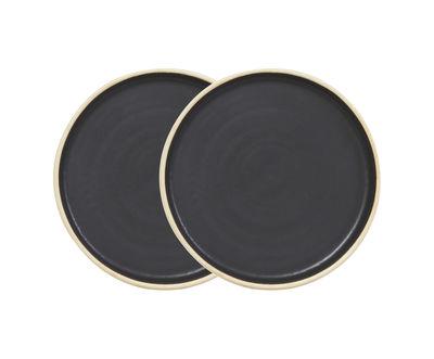 Arts de la table - Assiettes - Assiette à dessert Otto / Set de 2 - Ø 19 cm - Frama  - Noir - Grès émaillé