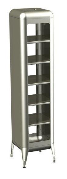 Möbel - Regale und Bücherregale - Aufbewahrungsmöbel lackierter Rohstahl - H 133 cm - Tolix - Rohstahl glänzend lackiert - Acier brut verni brillant