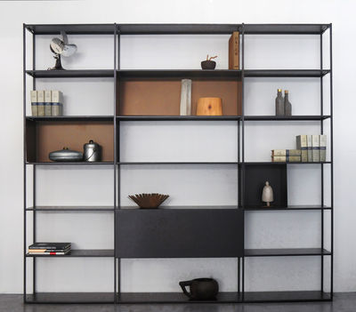Furniture - Bookcases & Bookshelves - Easy Irony Bookcase - / With drawer units - L 250 x H 226 cm by Zeus - Copper black / Bronze - Epoxy painted steel