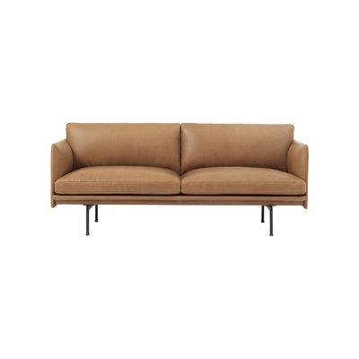 Mobilier - Canapés - Canapé 2 places Outline / L 170 cm - Cuir - Muuto - Cognac / Pieds noirs -  Plumes, Aluminium laqué, Cuir pleine fleur, Mousse