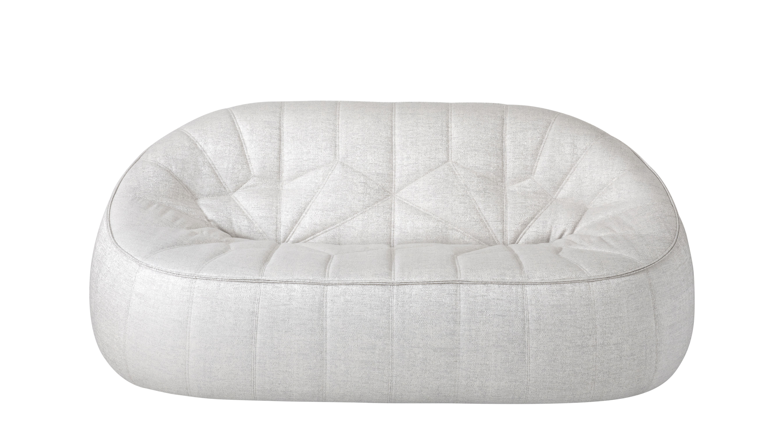 Mobilier - Canapés - Canapé droit Ottoman / Tissu - L 165 cm - Cinna - Gris clair - ABS, Mousse polyuréthane, Tissu