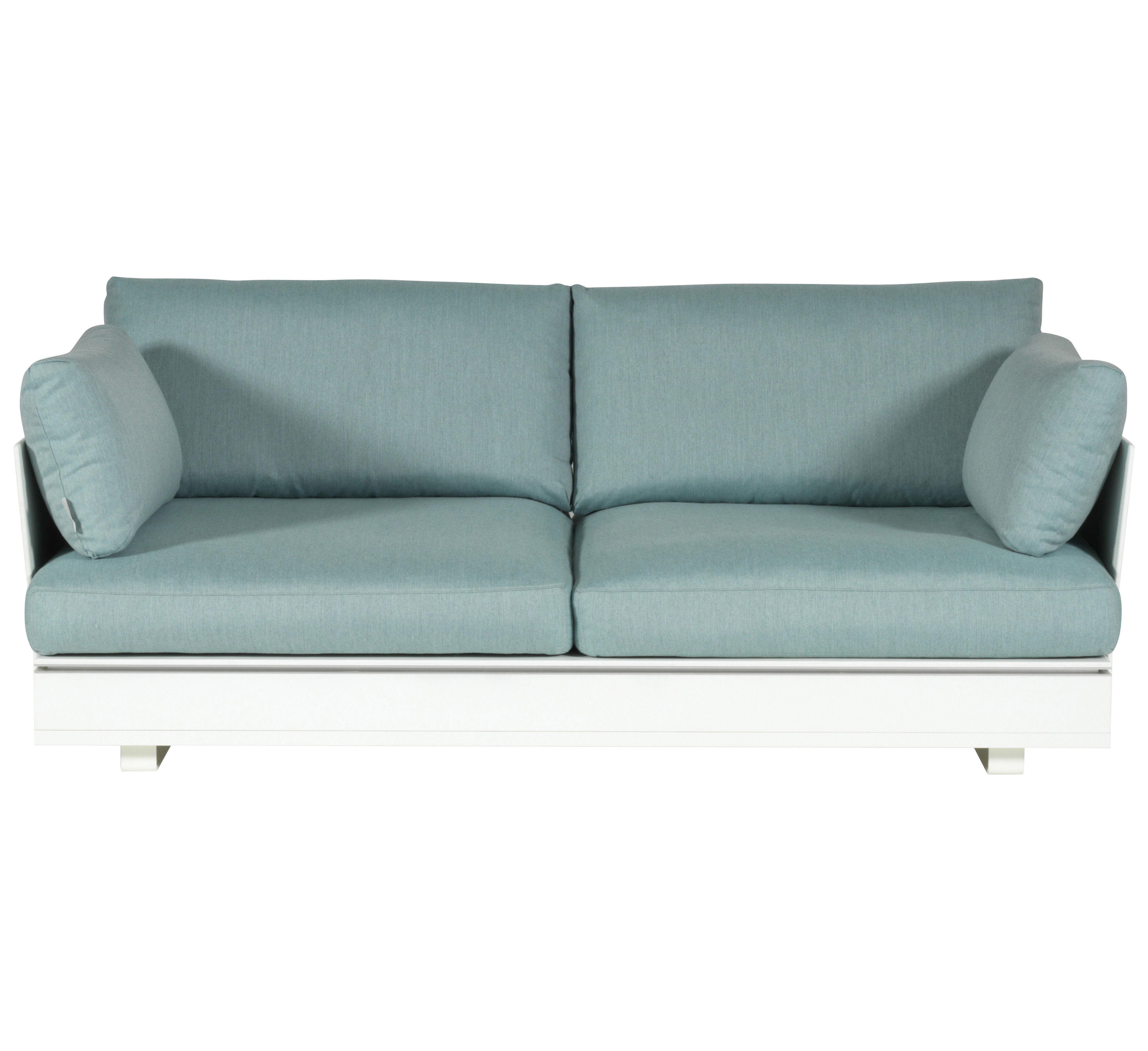 canap droit pure 2 places l 180 cm blanc coussins gris vert viteo made in design. Black Bedroom Furniture Sets. Home Design Ideas