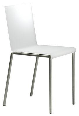 Chaise Bianca / Résine mate & pieds métal - Zeus acier,blanc mat en matière plastique