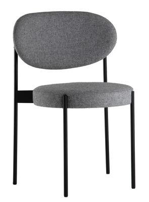 Mobilier - Chaises, fauteuils de salle à manger - Chaise rembourrée Series 430 / Tissu - Verpan - Gris clair / Structure noire - Acier inoxydable, Mousse, Tissu Kvadrat