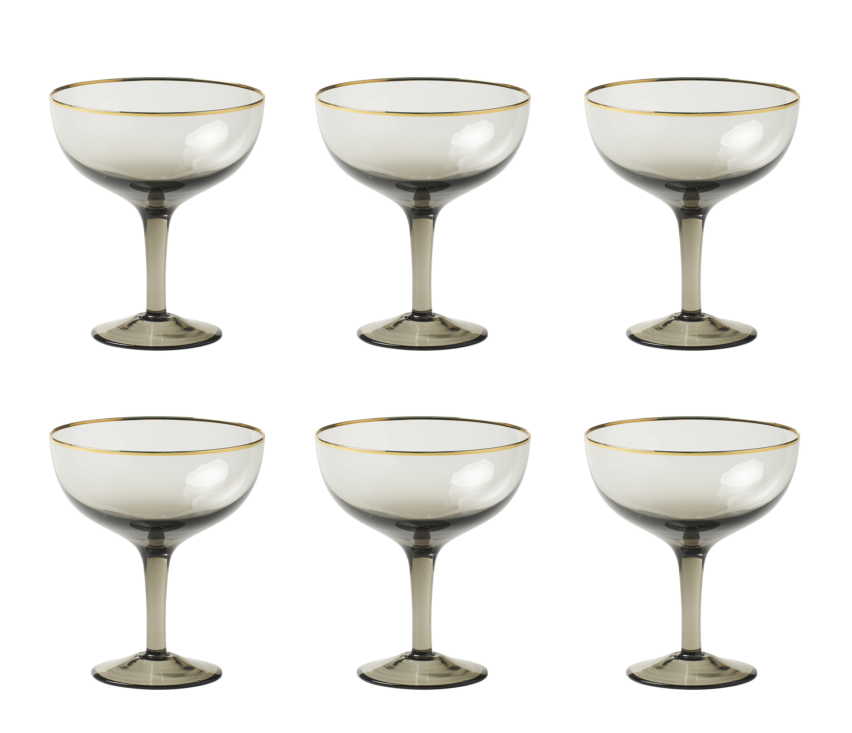 Tableware - Wine Glasses & Glassware - Decò Champagne cup - / Set of 6 - H 12.4 cm by Bitossi Home - Grey - Blown glass