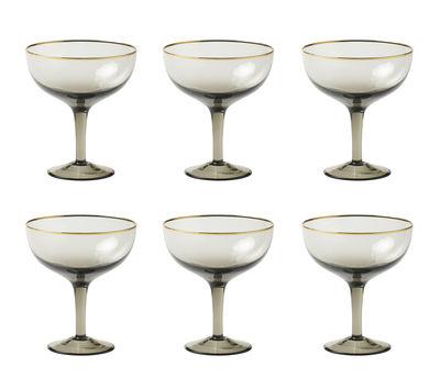 Coupe à champagne Decò / Set de 6 - H 12,4 cm - Bitossi Home gris,doré en verre
