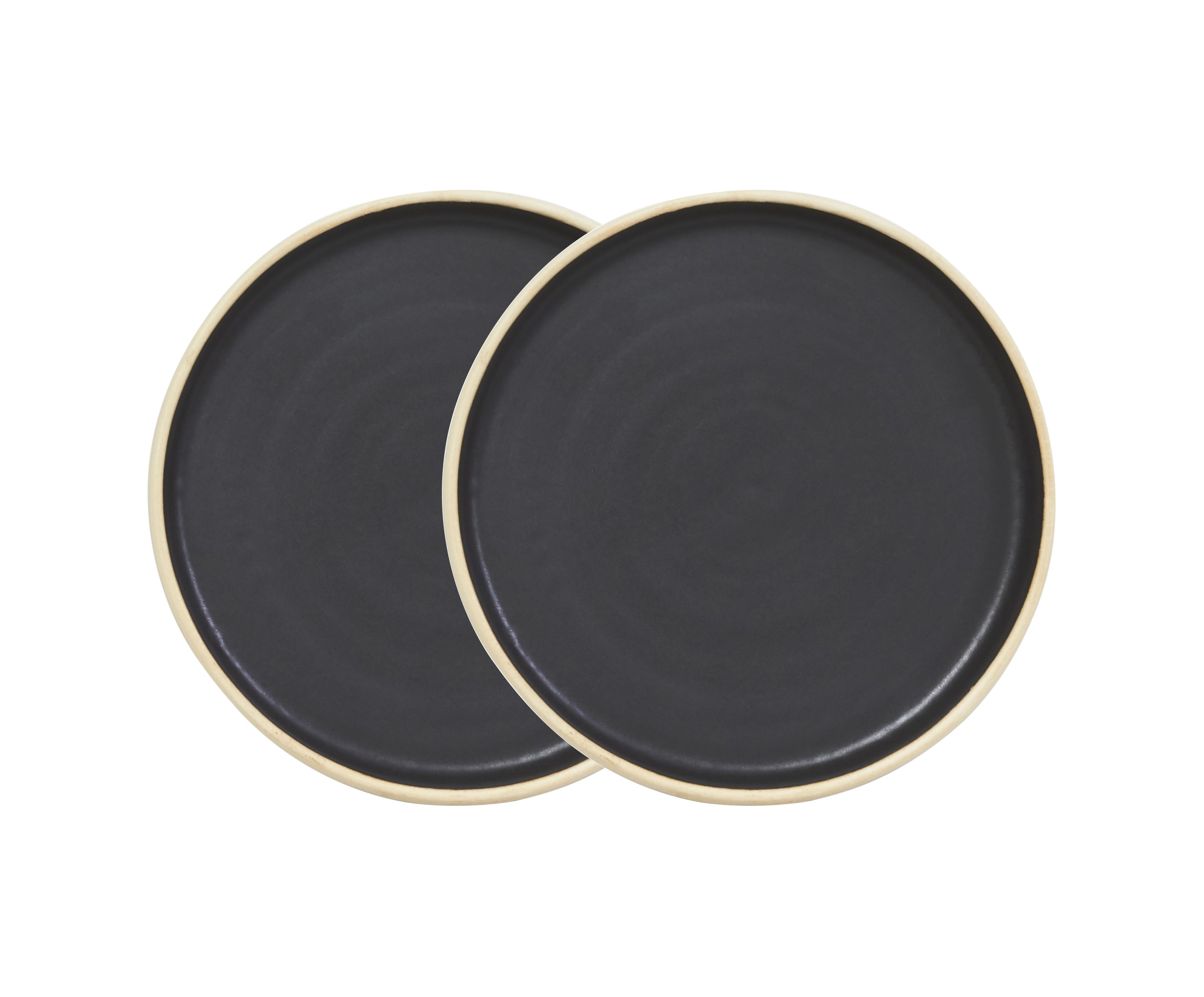 Tableware - Plates - Otto Dessert plate - / Set of 2 - Ø 19 cm by Frama  - Black - Enamelled sandstone