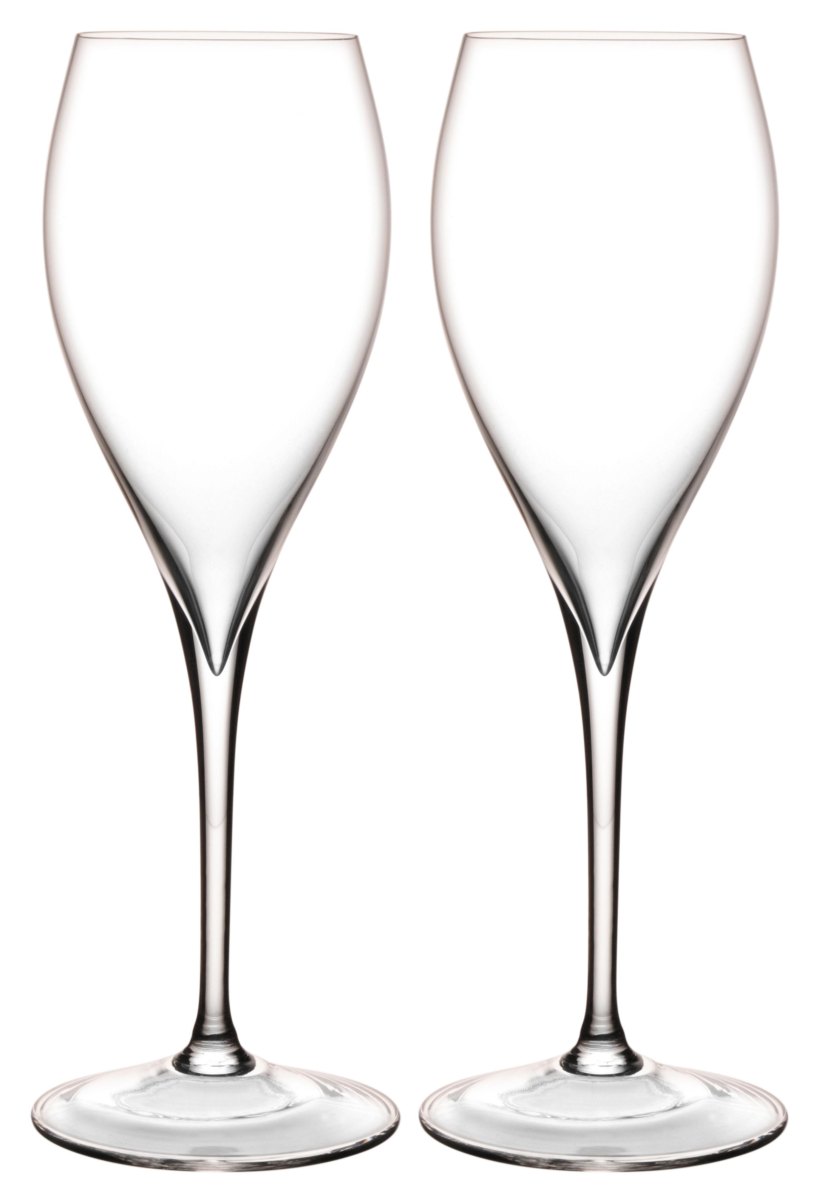 Arts de la table - Verres  - Flûte à champagne Grand Piqué / Set de 2 - L'Atelier du Vin - Transparent - Verre soufflé