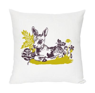 Dekoration - Für Kinder - Bambi Kissen Leinen und Baumwolle, mit Siebdruck - Domestic - Bambi - weiß, grasgrün und violett - Baumwolle, Leinen