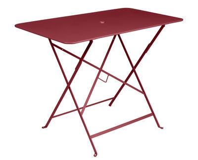 Outdoor - Tische - Bistro Klapptisch / 97 x 57 cm - für 4 Personen - mit Sonnenschirmloch - Fermob - Chili - bemalter Stahl